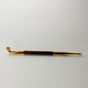 NEW KISERU - engraved gold plated and bamboo - 20.5 cm
