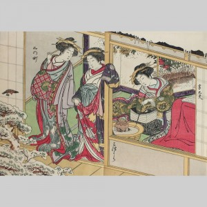 Have Genuine woodprint painting of geishas any case